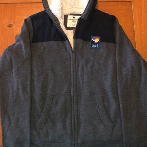 Abercrombie Sherpa grey/blue Sherpa Hoodie Size 16